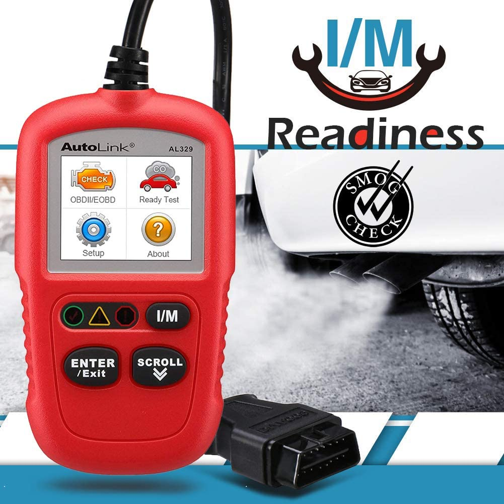 Advanced Version of The AL319 OBD2 Scanner + Free Case Autel AL329 Code Reader Engine Fault CAN Scan Tool with Patented One-Click I//M AutoVin