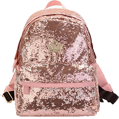 Donalworld Women Sequin Backpack Bling Paillette Glitter School Bag M Pink -
