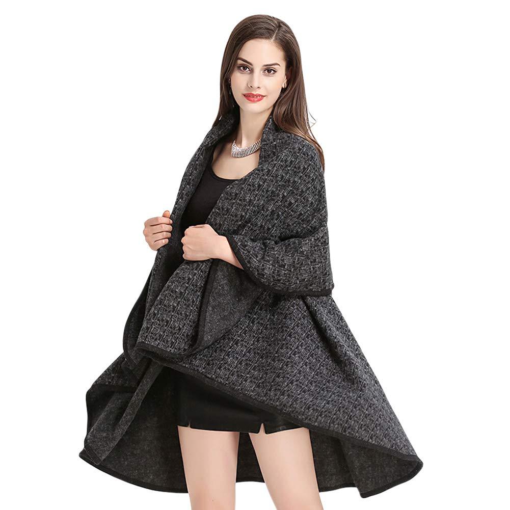 Black Tortor 1Bacha Women's Fashionable Oversized Knited Shawl Wrap Cape Multicolor