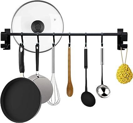 con 10 ganchos para utensilios de cocina color negro Astory Soporte de pared para barra de 100 cm