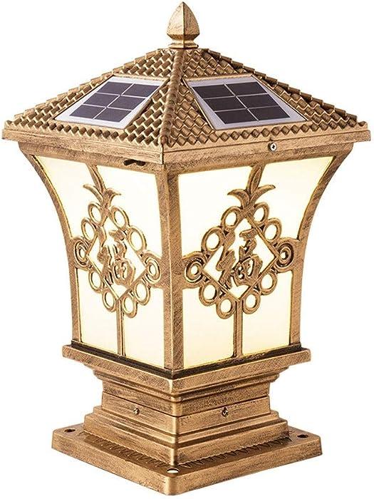 Traditional Solar Stigma Lamp Outdoor Fu Character Gate Post Light IP55 Rainproof Rustproof Exterior Wall Pillar Lights, Die-cast Aluminum Acrylic Lampshade Landscape Lantern (Size : Small)