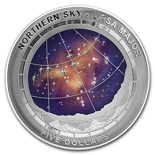 2016 AU NORTHERN SKY-URSA MAJOR 1oz dome shaped proof silver coin $5 Mint (Ursa Metal)