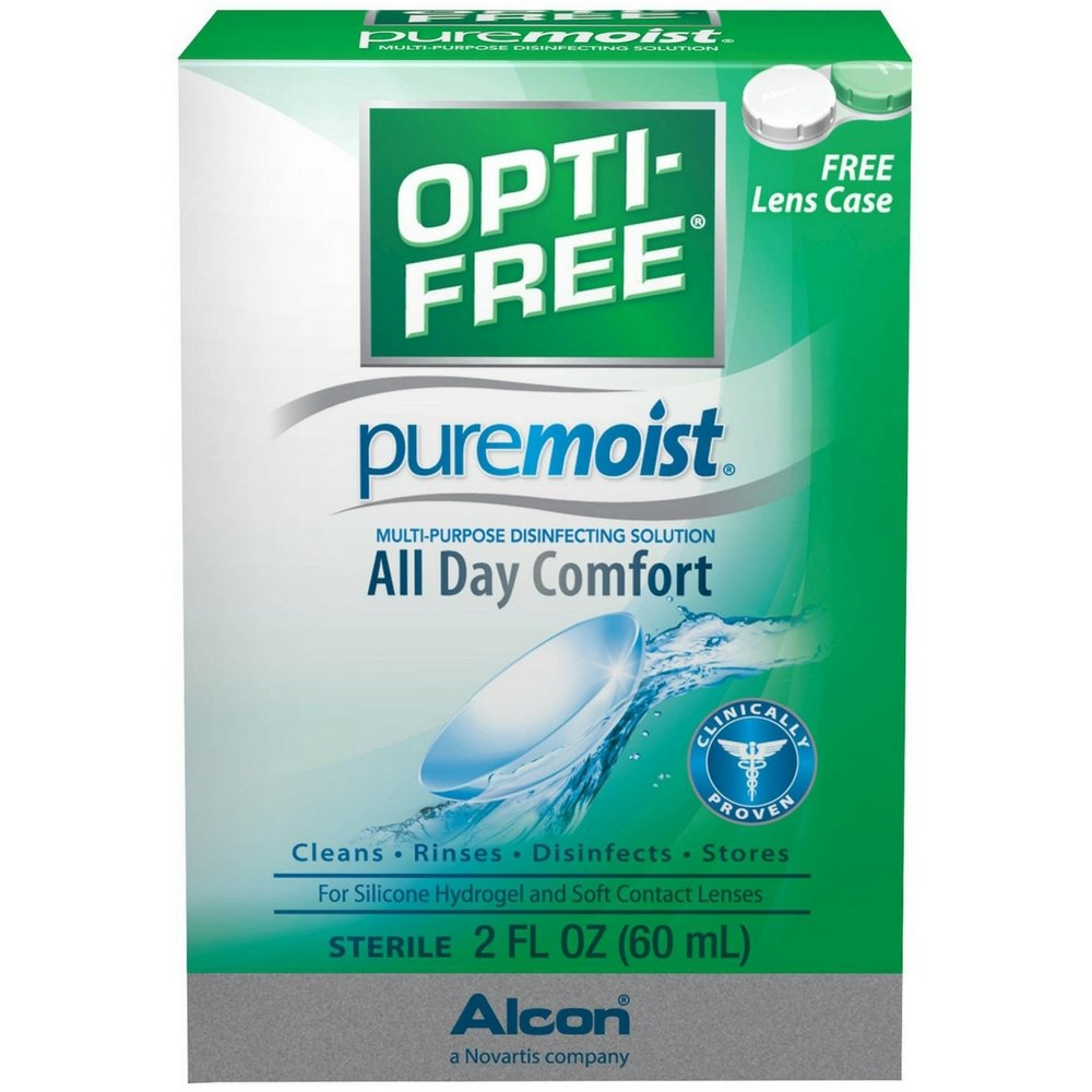 OPTI-FREE Pure Moist Multi-Purpose Disinfecting Solution, All Day Comfort 2 oz (Pack of 4)