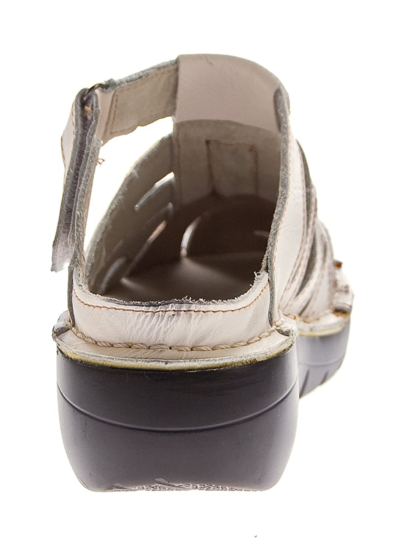 TMA Damen Leder Clogs Comfort Schuhe Echt Leder Sandalen Slipper Pantoletten 8891 Weiß-Creme Gr. 39 xMyhO