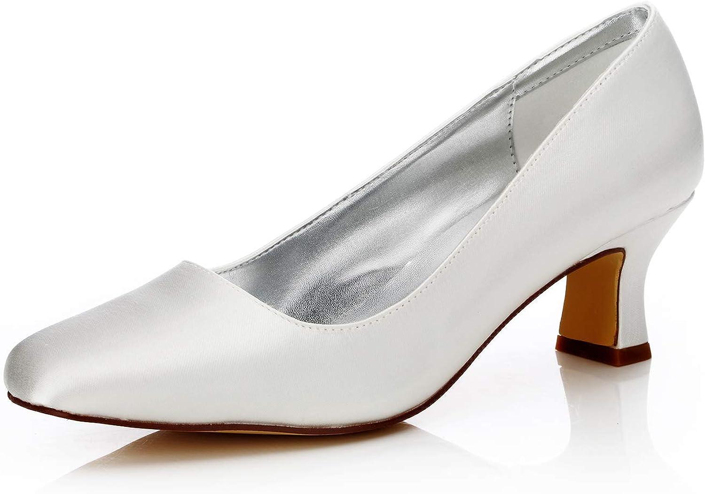 Amazon Com Jiajia K58303 Women S Bridal Shoes Closed Toe Chunky