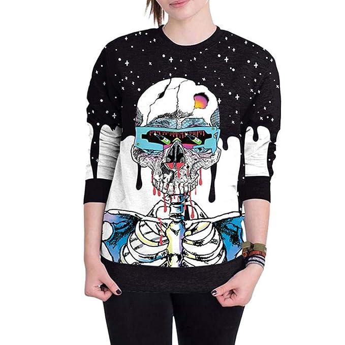 Mujer Sudaderas, ASHOP Manga Larga Cráneo de Halloween Impresión 3D Blusa Talla Extra Sweatshirt Casual Encapuchado Sudadera Mujer Cremallera Corta Top ...