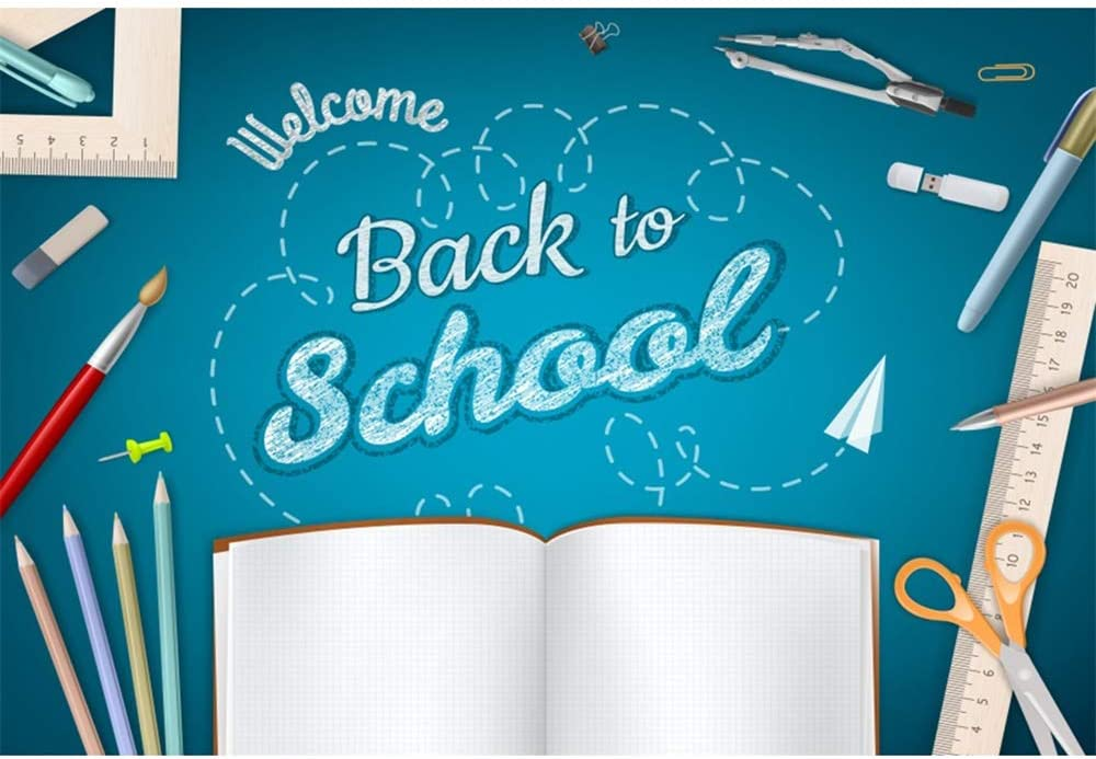 Haoyiyi 10x8ft Welcome Back to School Photo Backdrop Learning Tools First Day of School Background Photography Photo Students Birthday Party Photoshoot Decorations Wallpaper Portrait