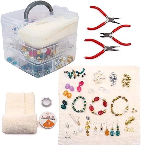 Kit de suministros para hacer joyas incluye varias cuentas, abalorios, fijaciones, alicates, cortadores, pinzas, alambre de cuentas y cordón, estuche de almacenamiento para manualidades, collares, pulseras, pendientes: Amazon.es: Juguetes y juegos
