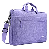 MOSISO Messenger Laptop Shoulder Bag for 17-17.3 Inch MacBook/Notebook/NetBook/Chromebook/Tablet, Polyester Messenger Briefcase Sleeve Case Cover with Adjustable Depth at Bottom, Purple