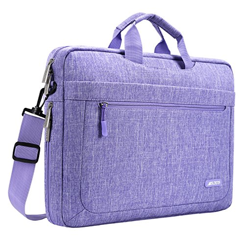 (MOSISO Laptop Shoulder Bag Compatible 15-15.6 Inch MacBook Pro, Ultrabook Netbook Tablet with Adjustable Depth at Bottom, Polyester Messenger Briefcase Carrying Handbag Sleeve Case Cover, Purple )