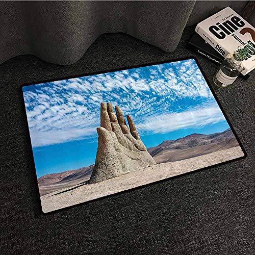Monument Decor Interesting Doormat Hand Sculpture Famous Landmark The Symbol of Atacama Desert in Chile Panorama Machine wash/Non-Slip W35 xL47 Grey Blue