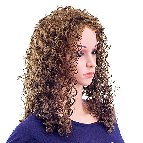 SWACC 20-Inch Long Big Bouffant Curly Wigs for Women Synthetic Heat Resistant Fiber Hair Pieces with Wig Cap (Light Dirty Brown-12#) by SWACC (Image #1)