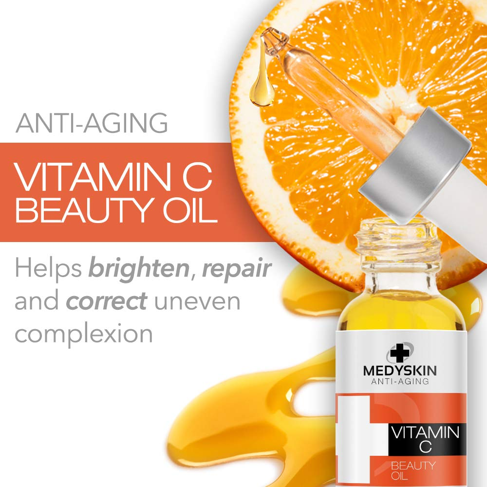 Amazon.com: Anti Aging Beauty Face Oil by Medyskin, Natural Vitamin C with Rose Hip & Avocado for Rejuvenate Sun Damaged, Brighten & Restore Skin, ...