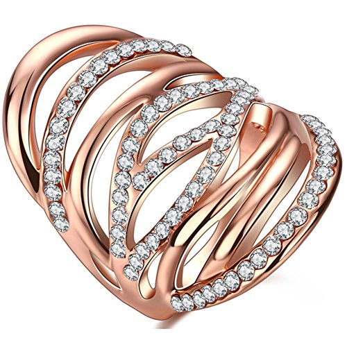 TEMEGO Rose Gold Full Long Rings for Women,Multi-Row Small Cubic Zirconia Cut Out Chunky Statement Ring