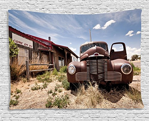 (Ambesonne Americana Decor Collection, Abandoned Restaraunt On Route 66 With