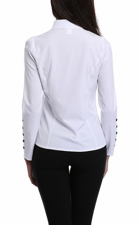 89a730e35 MISS MOLY Camisas Para Mujeres con Decoración de Botón con Cuello EN V con  Volantes, Pecho Fruncido