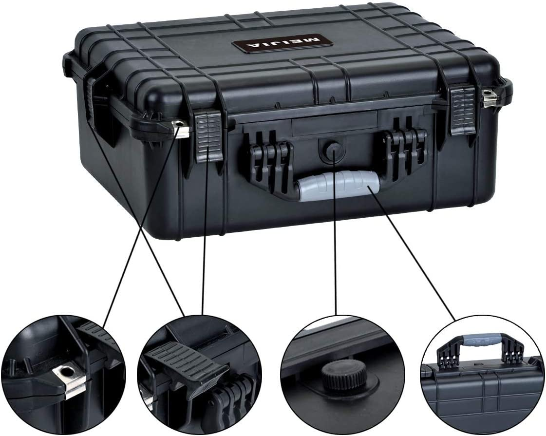 Elgeant Black,20.62 x16.85x8.11inches MIEJIA Portable All Weather Waterproof Camera Case with Foam,Fit Use of Drones,Camera,Equipments Renewed