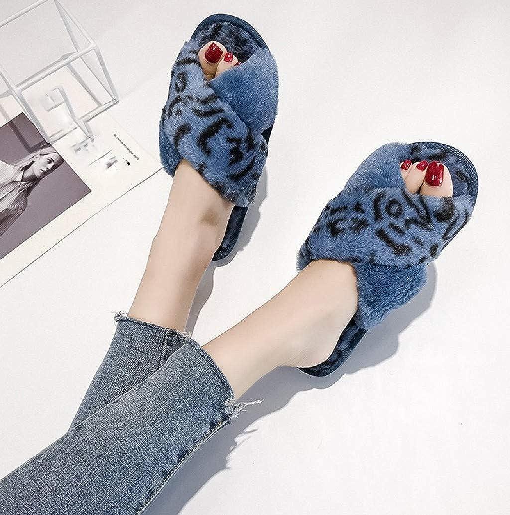 Womens Open Toe Cross Band Plush Slippers Fashion Leopard Print Soft Anti-Slip Floor Bedroom Shoes Flip Flops Nevera