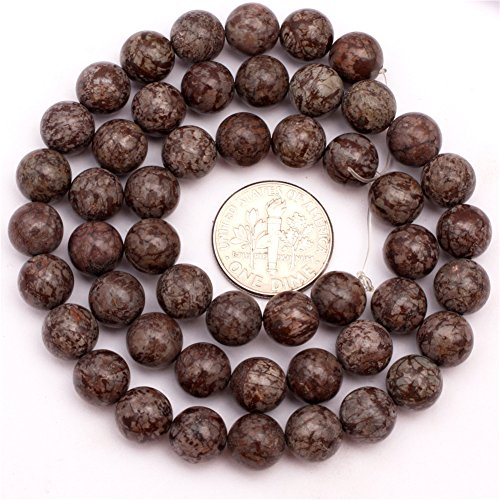 SHG 8mm Round Smooth Brown Jasper Agate Beads Natural Gemstone Agate Beads For Jewerly Making Beads Strand 15 inches Jewelry Making Beads Spacer Beads