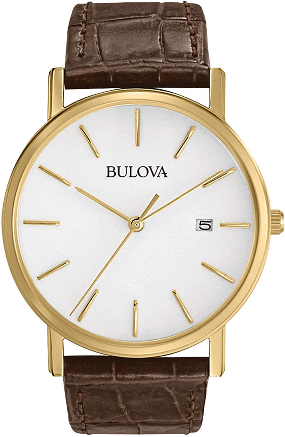 Bulova Men s 97B100 Classic Gold-Tone Stainless Steel Watch With Brown Leather Band