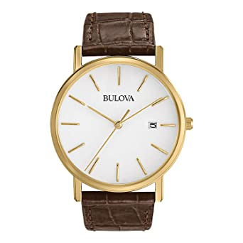 0c0bb59683b4 Image Unavailable. Image not available for. Color  Bulova Men s 97B100 Gold-Tone  Stainless Steel Watch With ...