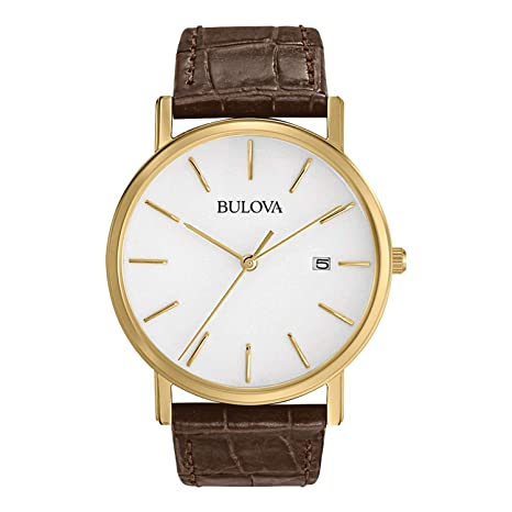 Bulova Men's 97 B100 Classic Gold Tone Stainless Steel Watch With Brown Leather Band by Bulova