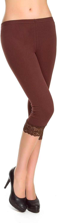 MITAAMI Legging en coton avec bordure en dentelle pour femme Taille 36-42