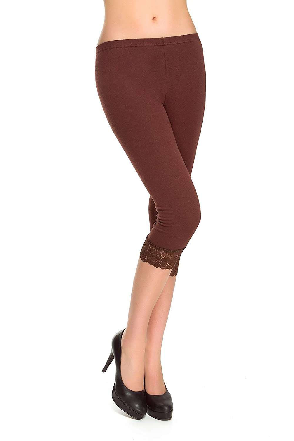 MITAAMI Women's Cotton Leggings with Lace Trim Edges Size 8-22 UK MDLCE