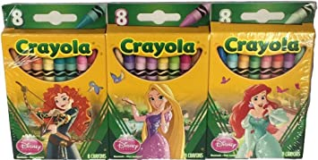 disney princess crayola crayons 3 boxes of 8 crayons - Crayola Disney