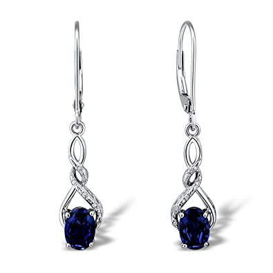 22b4c8c60 Image Unavailable. Image not available for. Color: Lab Created Blue  Sapphire Earrings in Rhodium Plated Sterling Silver