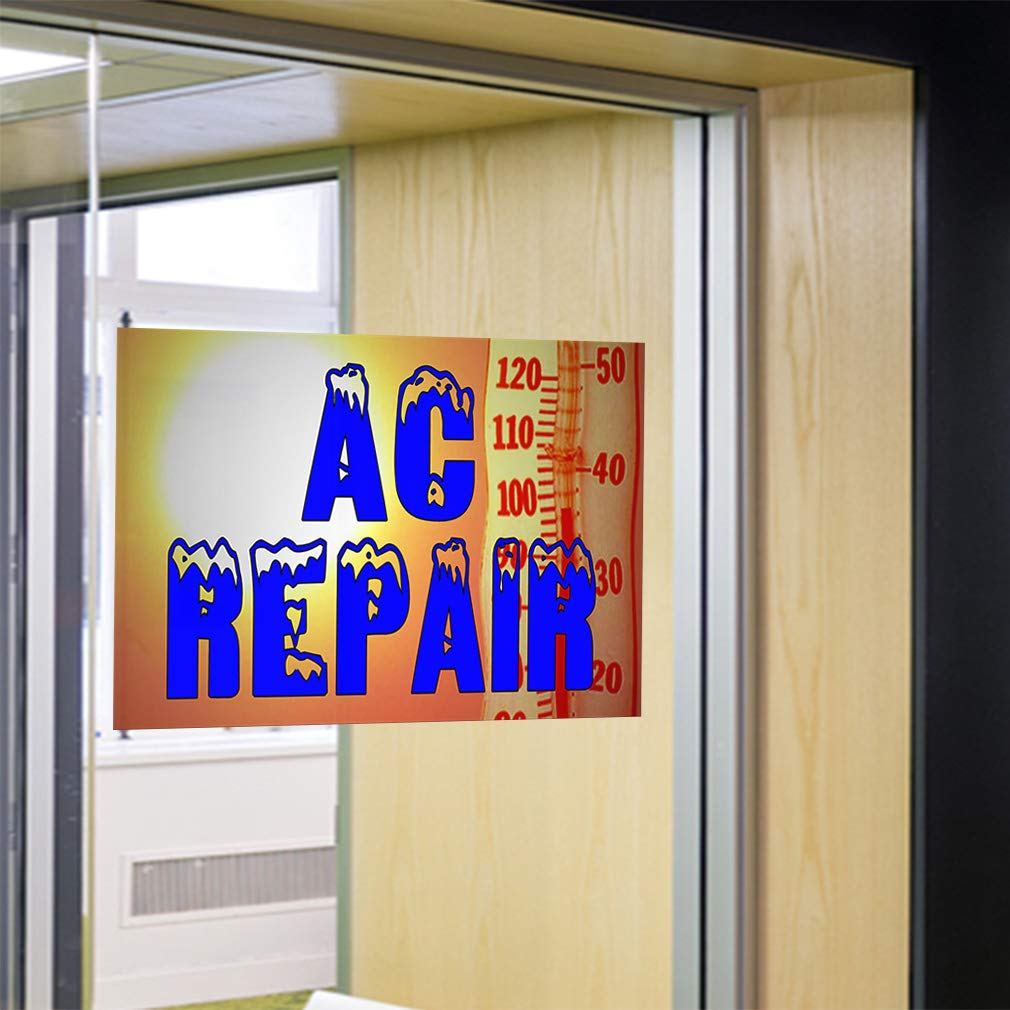 Decal Sticker Multiple Sizes Ac Repair with Sun Background Business ac Repair Outdoor Store Sign White One Sticker 69inx46in