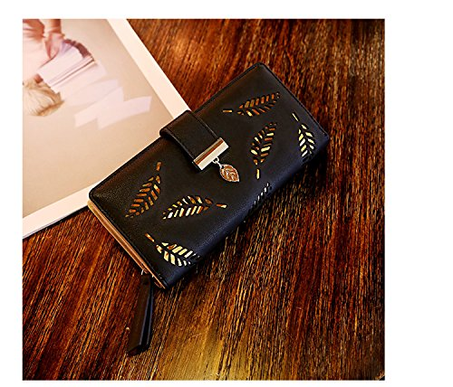 Black Tuopuda Womens Wallet Hollow Leaf Pattern Bifold Leather Lady Long Wallet Purse Coin Button Clutch Bag