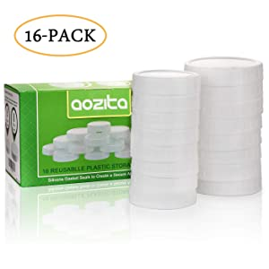 [AIRTIGHT] Aozita 16-Pack Plastic Mason Jar Lids with Sealing Rings - Plastic Storage Caps for Ball Jars and More - 8 Regular Mouth Jar Lids and 8 Wide Mouth Jar Lids