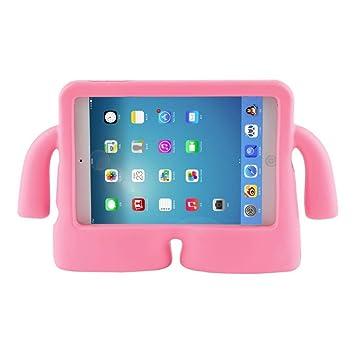 Vendopolis Funda Soporte para iPad Air Air 2 Ideal NIÑOS DE Goma iBuy iGuy Anti CAÍDAS (Rosa)