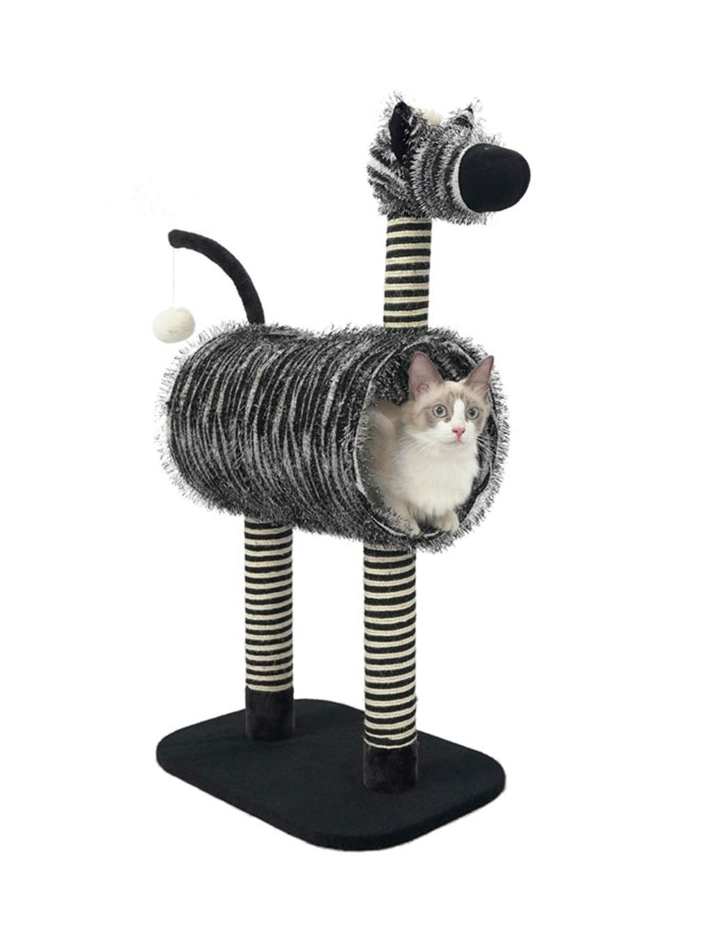 Cat Tree   Creative Zebra Style Cat Climbing Tower Condo with Pompom, Sisal-Covered Scratch Pillar, Activity Centre for Kittens, Cats and Pets