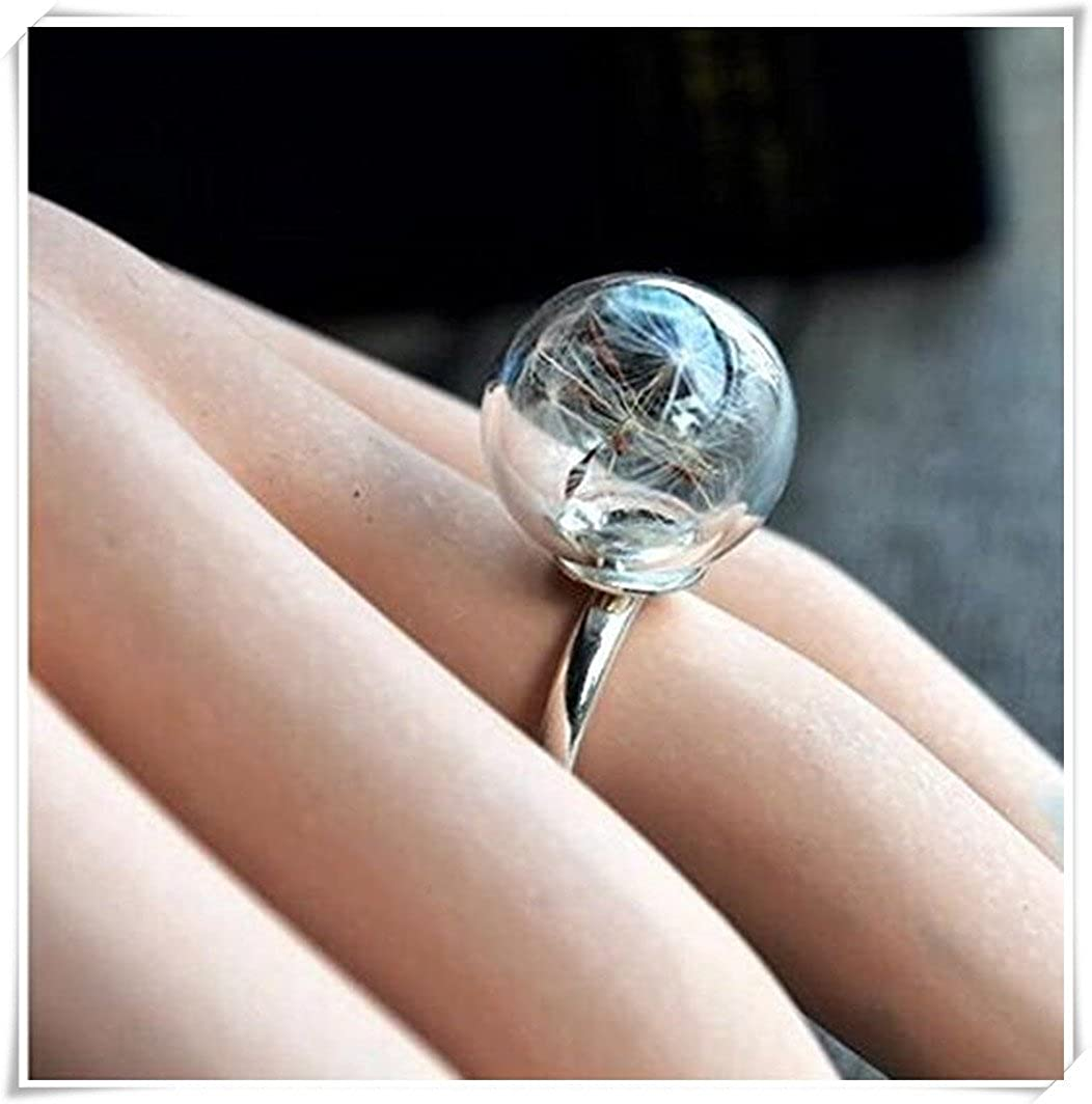 Semillas de diente de león Wish real flor en cristal anillos zhong fang D34