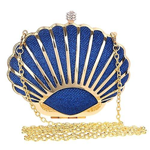 Blue Handbag Clutch Evening Bag Shoulder Color Women's Purse Crossbody Metal KERVINFENDRIYUN Blue xTn1pZvqS