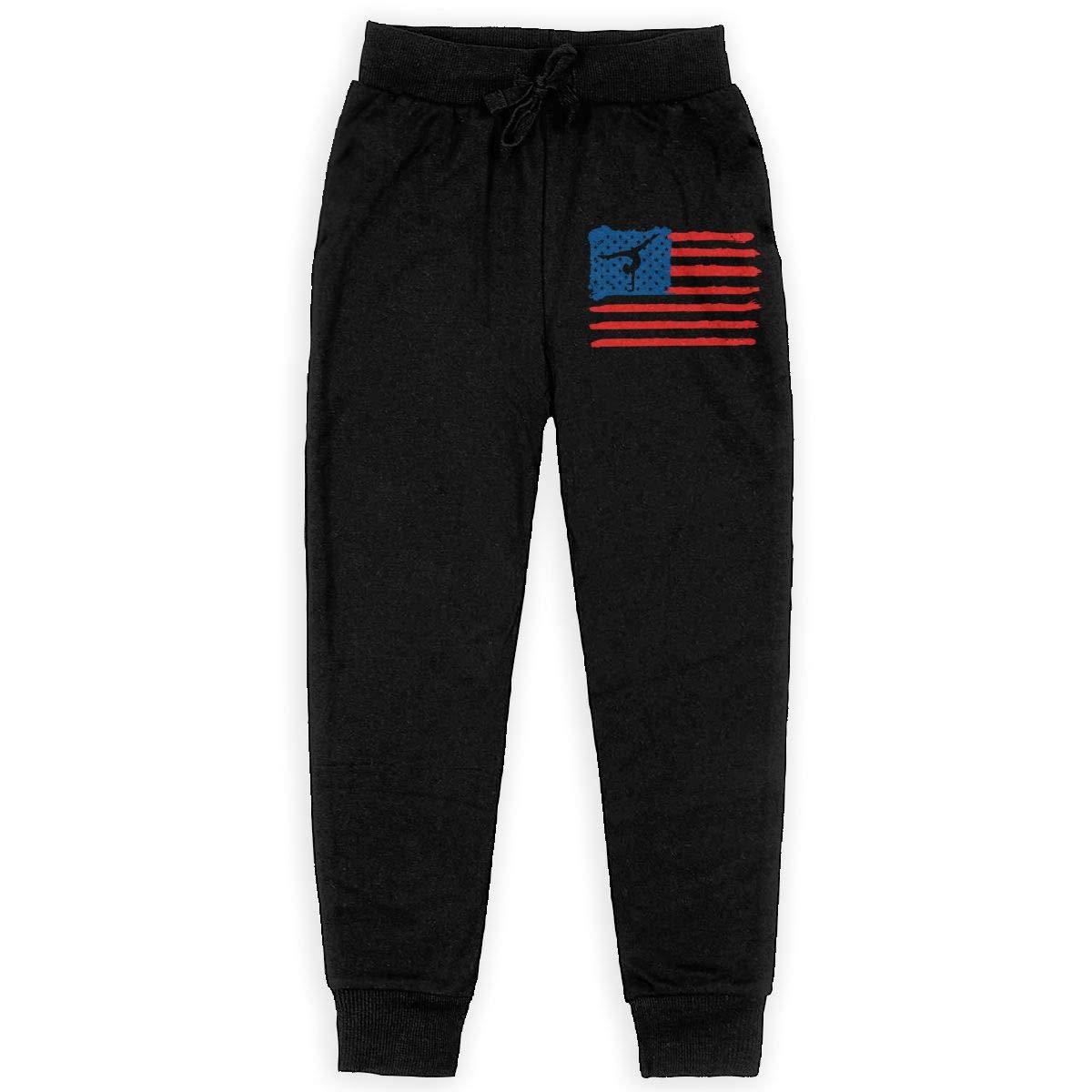 Girls Sweat Pant for Teenager Boys WYZVK22 American Flag Gymnastics Soft//Cozy Sweatpants