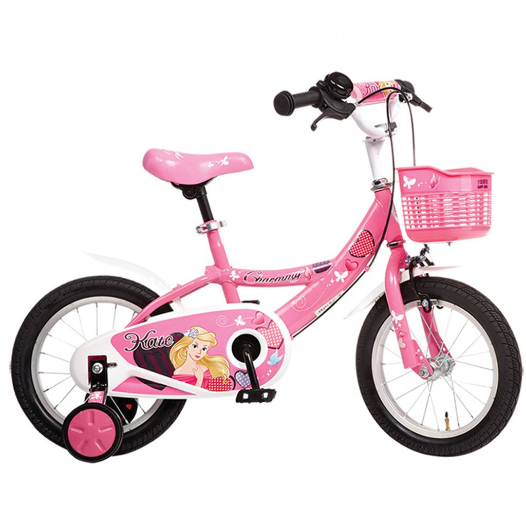 子供用自転車3-6歳の自転車14インチベビーキャリッジハイカーボンスチールレディース自転車、ピンクホワイト/ピンク (Color : Pink) B07CV926ZP
