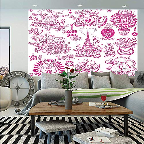 Doodle Wall Mural,I Love You Valenties Design Hugging Touching Singing Hearts Coffee Expressing Affection,Self-Adhesive Large Wallpaper for Home Decor 83x120 inches,Pink