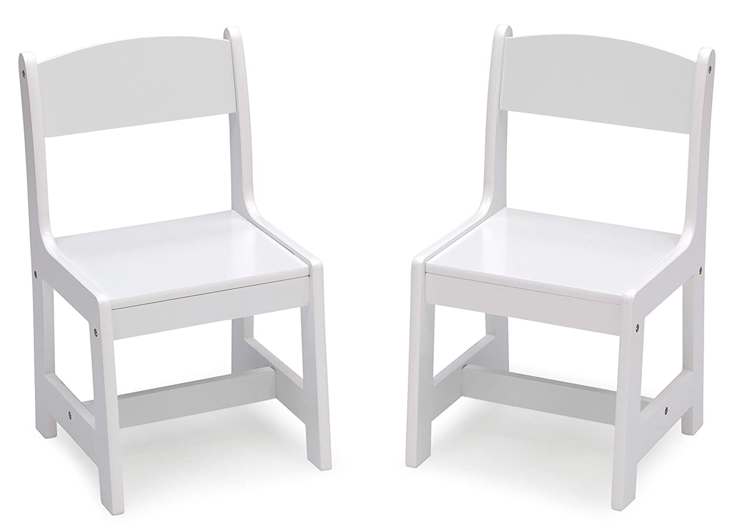 Delta Children MySize Wood Kids Chairs for Playroom [Pack of 2], Bianca White