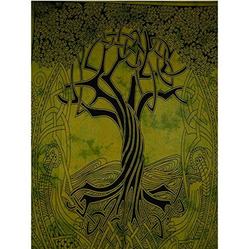 Tagesdecke Single keltischer Baum des Lebens grün indische Decke Baumwolle Tie Dye Style