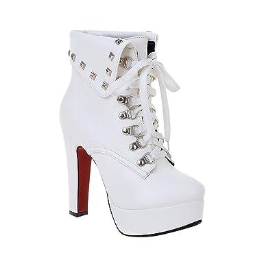 7de33046e6f6 Minetom Femme Automne Hiver Bottines Rivets Chaussures à Lacets Talon Haut  Chaussures Martin Boots: Amazon.fr: Vêtements et accessoires