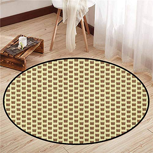 - Round Rugs,Coffee,Illustration of Take Away Coffee Cup with Cardboard Holder with Beans Lettering,Rustic Home Decor,4'11
