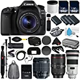 6Ave Canon EOS 80D DSLR Camera with 18-55mm Lens International version (No Warranty) + Canon EF 300mm f/2.8L IS II USM Lens + Battery Grip + LP-E6N Replacement Lithium Ion Battery Bundle