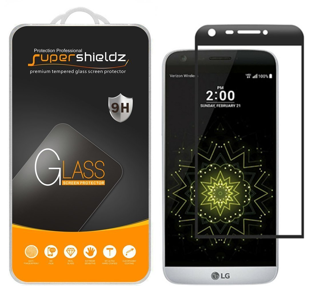 [2-Pack] Supershieldz for LG G5 Tempered Glass Screen Protector, [Full Screen Coverage] Anti-Scratch, Bubble Free, Lifetime Replacement Warranty (Black)