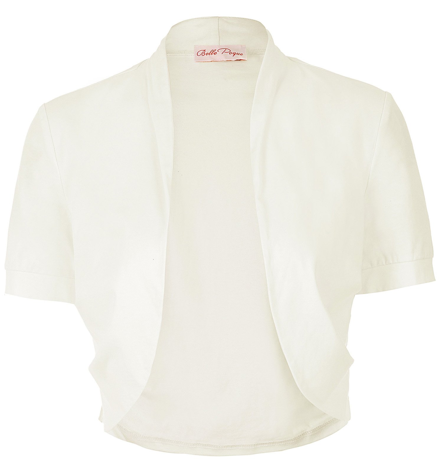 Ladies Short Sleeve Bolero Cover-up Outwear (L, Off White 215-10)