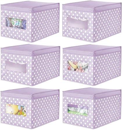 mDesign Juego de 6 Cajas organizadoras de Tela – Caja de almacenaje apilable para Guardar Ropa y Zapatos o para ordenar armarios – Organizador de armarios con Tapa y ventanilla – Violeta: Amazon.es: Hogar