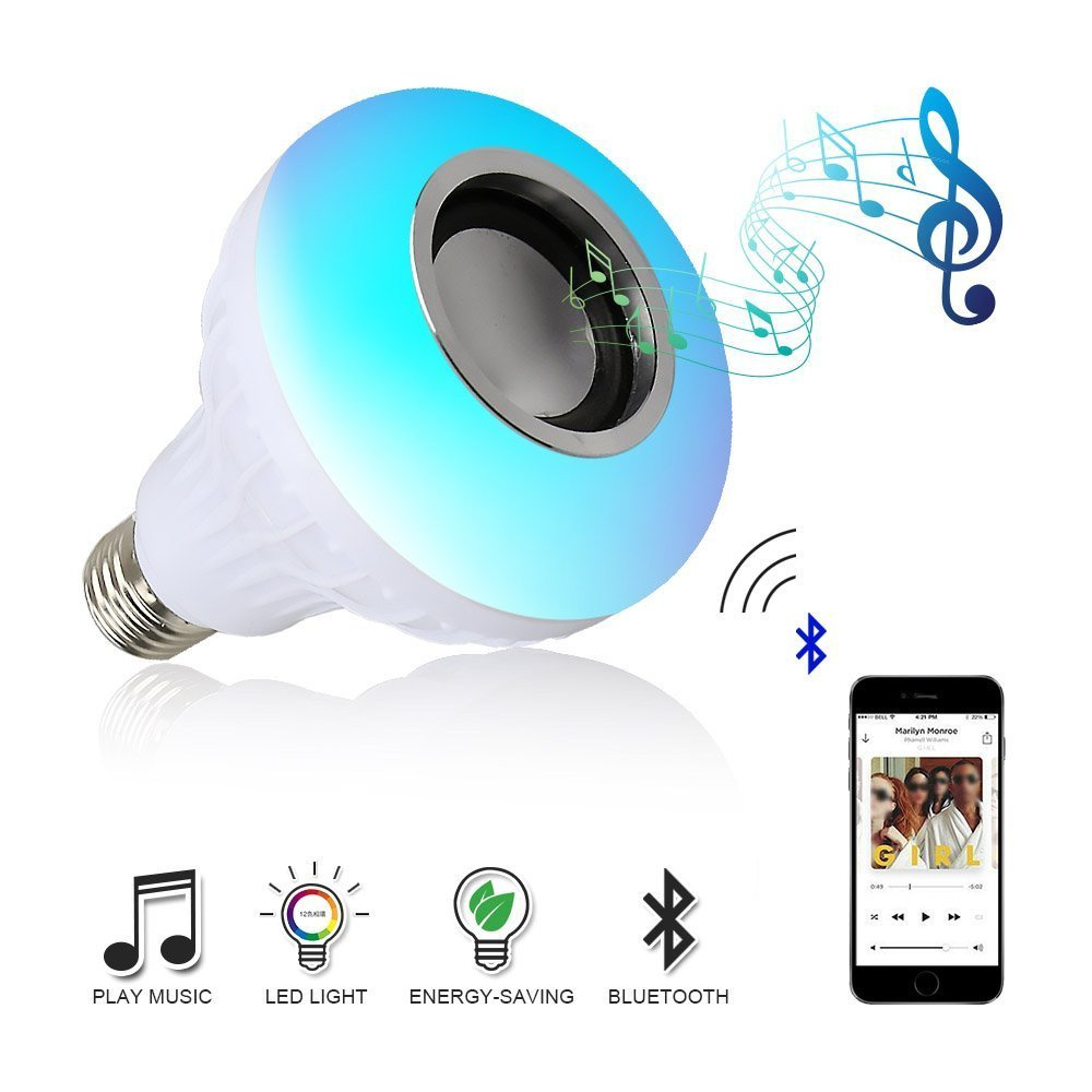 Music LED Light Bulb, E27 Color Changing Energy Saving Lamp with Built-in Audio Bluetooth Speaker and Remote Control for Home Stage Party Decoration Spritumn