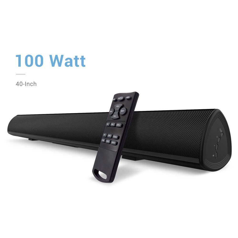Soundbar, 100Watt 40 Inch BYL Sound Bar Wireless and Wired Audio Bluetooth Speakers for TV (2018 upgraded, 60 Days Home Trial) by BYL